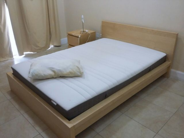 Ikea queen size bed with mattress //