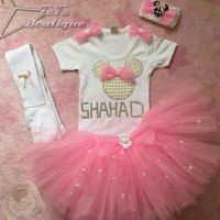 pink tutu set with pearls