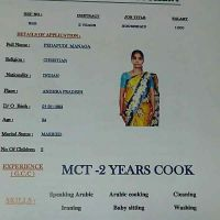 Indian housemaid with cooking experience