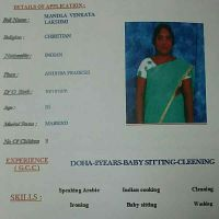 cv for Indian maid with experience