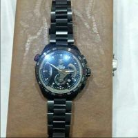 lovely black chain tag heuer watch