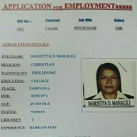 CV application from Philippines