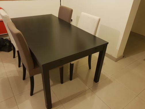 Ikea - Black Table with 4 Cusioned Chair