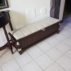 Storage wooden with leather