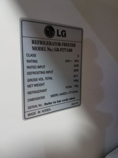 LG 2 door..fridge plus freezer