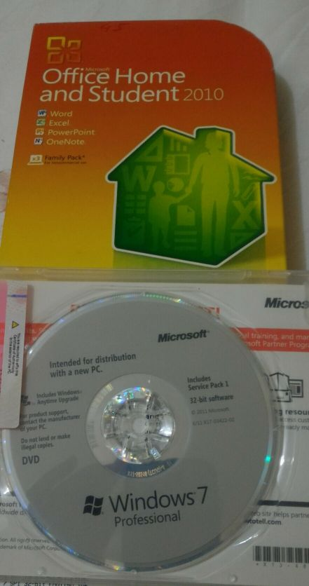 Windows pro7 and office 2010 for sale