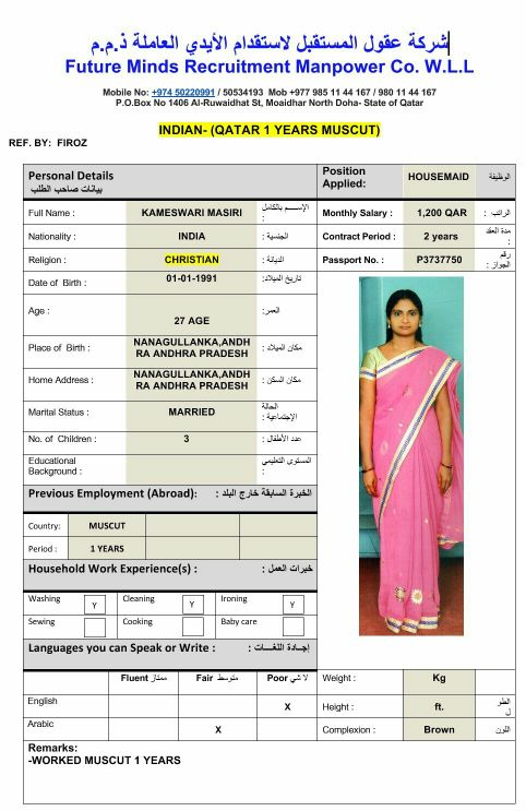 INDIAN HOUSE MAID WITH EXPERIENCE