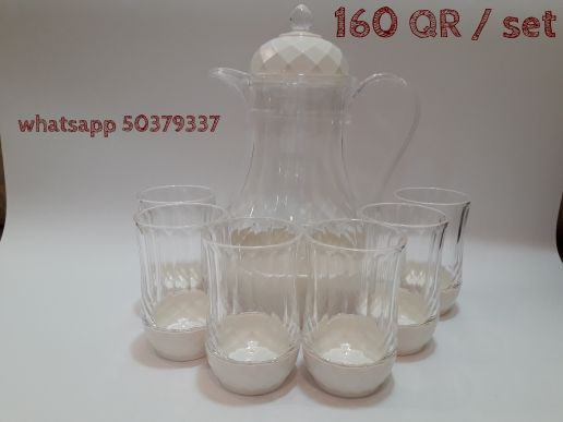 set of glasses with jug
