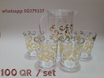 jug with 4 glasses. with golden design