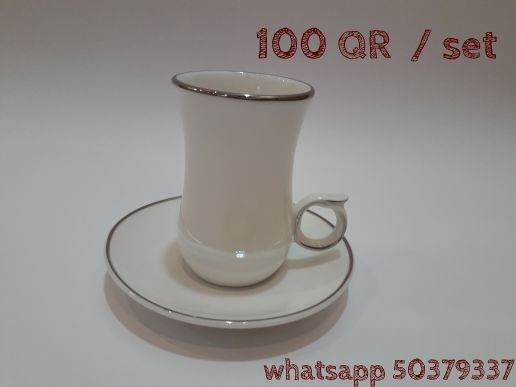 tea cups set white with silver outline