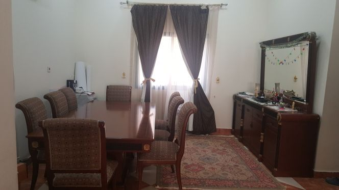 dining table and cabinet with mirror