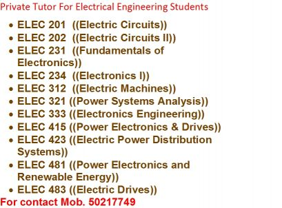 Electrical Engineering private tutor