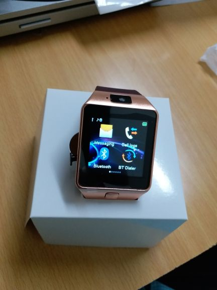 smart watch Rubber Strap with sim Gold