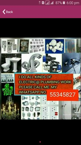 I do all kinds of electric and plumbi