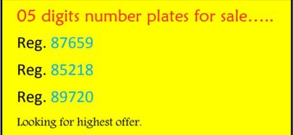 05 digits number plate for sale
