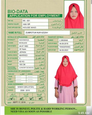 Indonesia Housemaid, Cook & driver