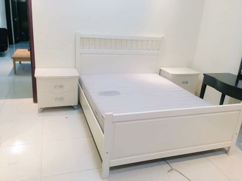 Queen Bed & mattress 2 Side Table