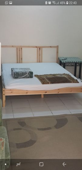 bed frame and mattress from Ikea