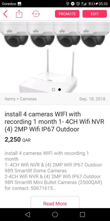 install 4 cameras WIFI with recording 1