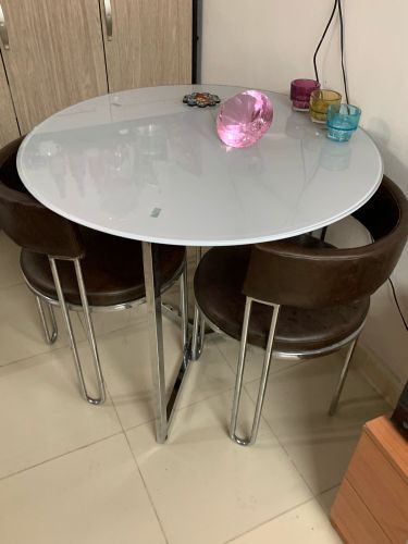 Glass table w/ 3 stainless chair