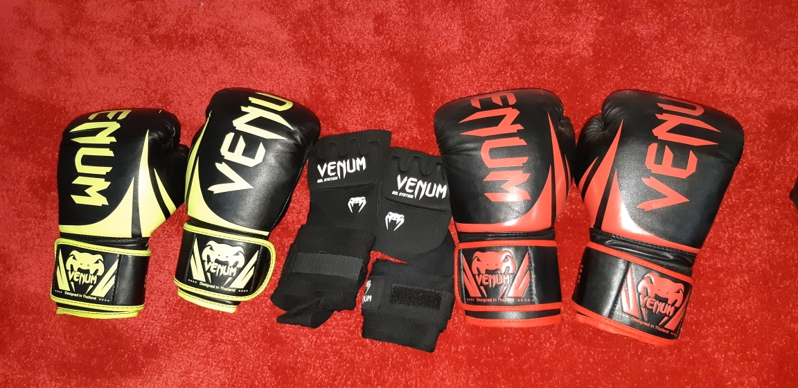 10 oz and 8 oz venom boxing gloves