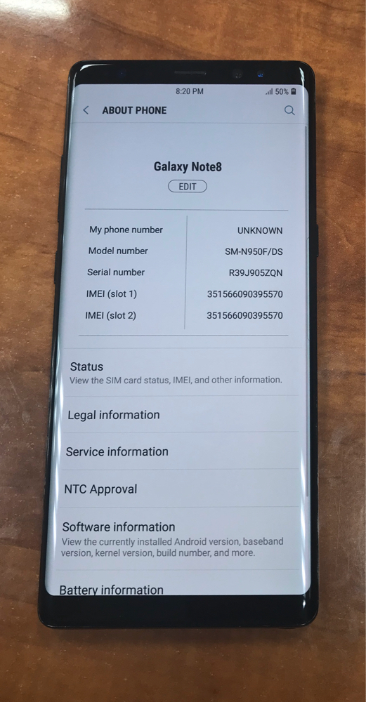 SAMSUNG NOTE8 USED 256 GB