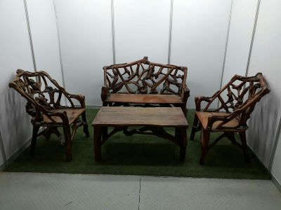wooden chairs & table made from tree