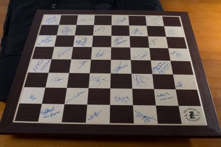 Chess board with signatures