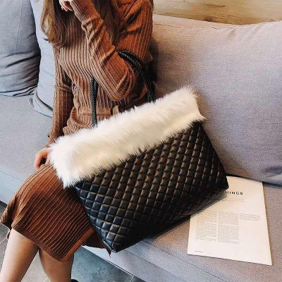 Imported Totebag With Fur