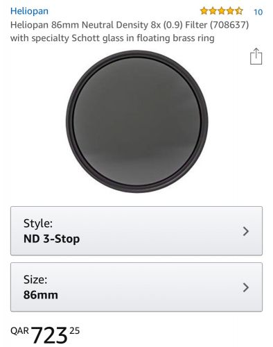 ND filter 86mm 3 stops