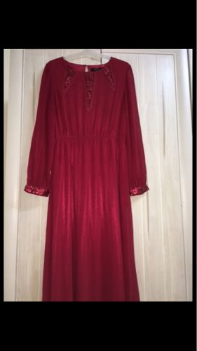 Long red dress with long sleeves