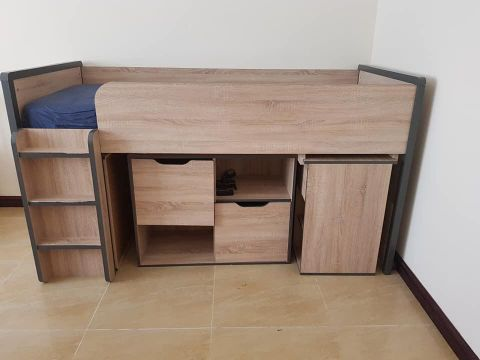 Bed with storage and desk