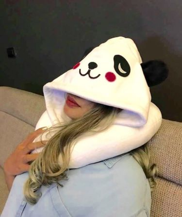Travel Panda Neck Pillow w/ Hood