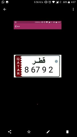VIP 5DIGIT NUMBER PLATE 8 67 9 2