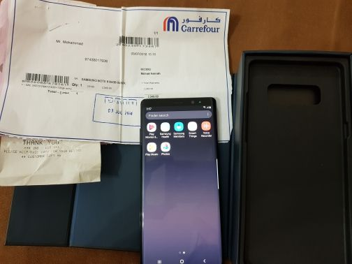 Note 8 with box and charger with bill