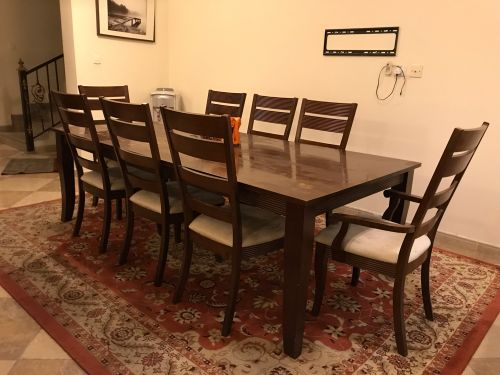 "Dining Table ""Hard wood"" 8 chairs"
