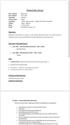 Hr looking for job
