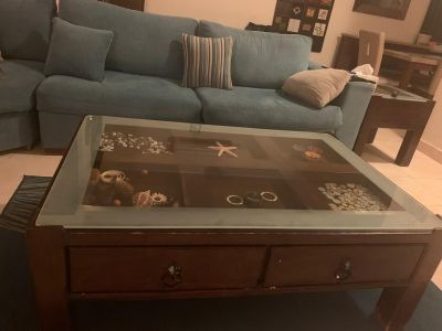 Solid wood Coffee Table with 2 side