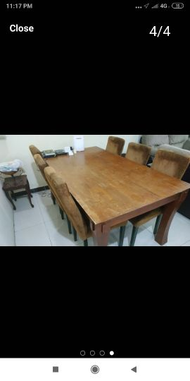 wooden dinning table + 6 chairs
