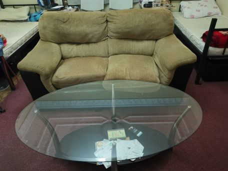 coush and Glass table for sale