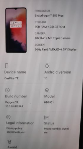 OnePlus 7t 8 gb 256 gb like new