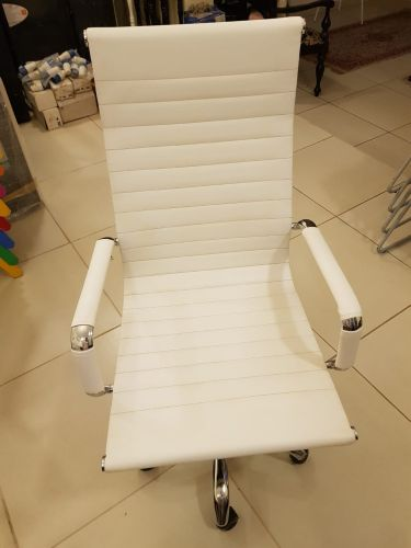 H-Back White Leather Office Chair