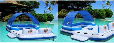 Inflatable floating row swimming