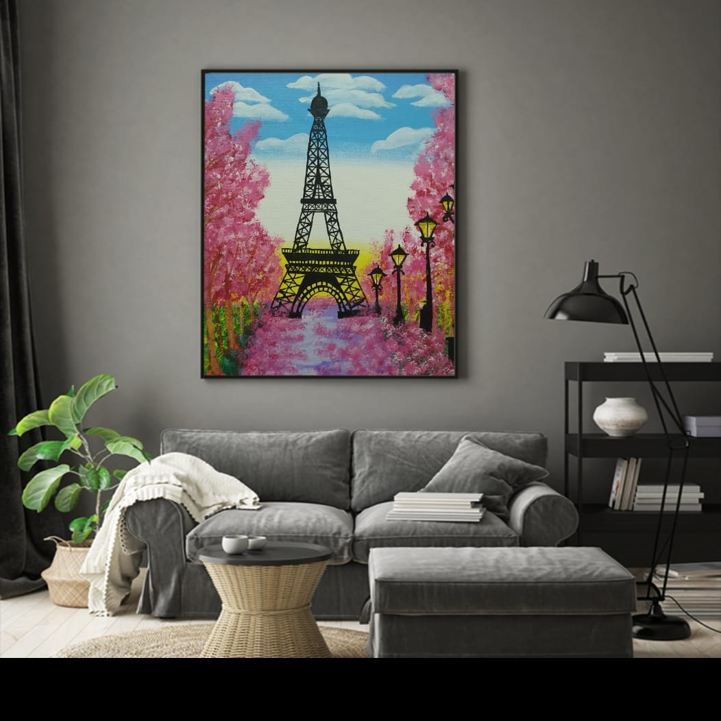 Hand made Eiffel tower painting