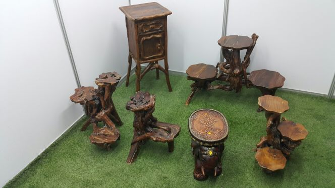 1. Wooden chairs and tables
