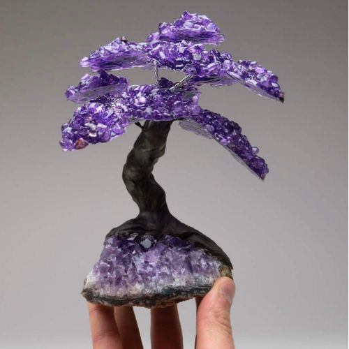 Crystal tree with amethyst rock