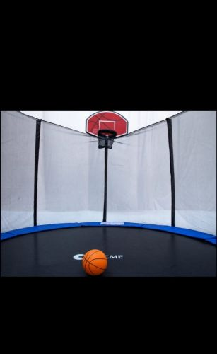Trampoline with basketball stand
