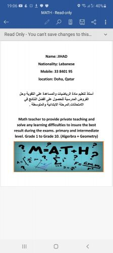 Private lessons in mathematics for primary and intermediate