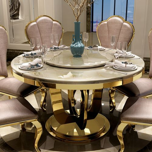 Marble dining table stainless steel