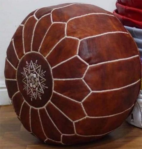 Leather Pouf for living room available colors , black white,